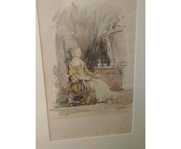 """Henri Collinet's watercolor """"indoor scene"""", 1905"""