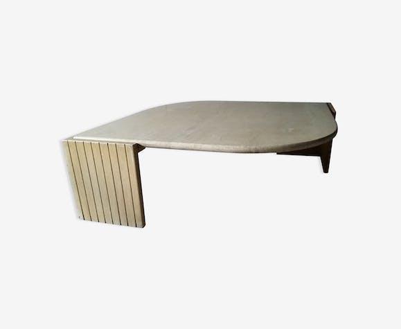 Table basse travertin vintage années 70 édition Roche Bobois Design ...