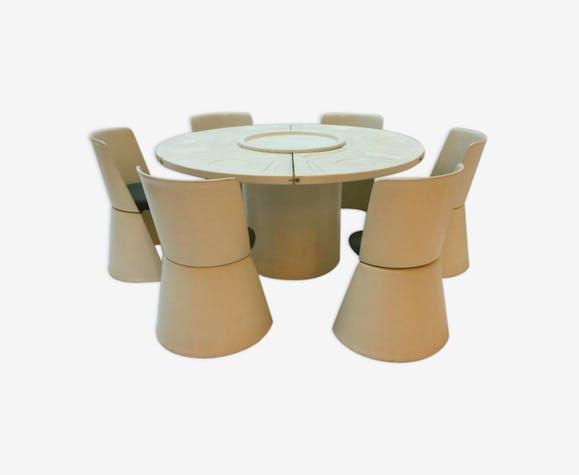 Table et 6 chaises de jardin par Bernini - plastique - beige ...