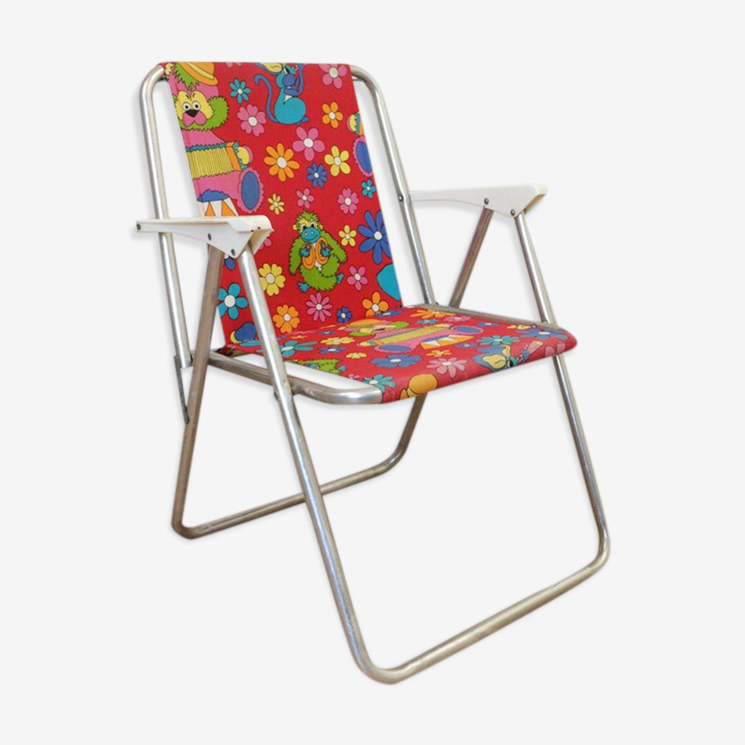 Chaise De Camping Pliante Pour Enfant Tissu Rouge Vintage