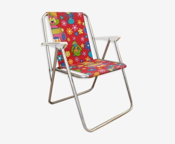 chaise de camping pliante pour enfant tissu rouge. Black Bedroom Furniture Sets. Home Design Ideas