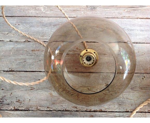 Paire de suspensions globes en verre fumés