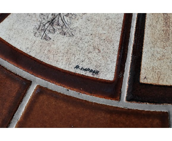 """Table basse """"herbier"""" ovale par Roger Capron en céramique circa 1965"""