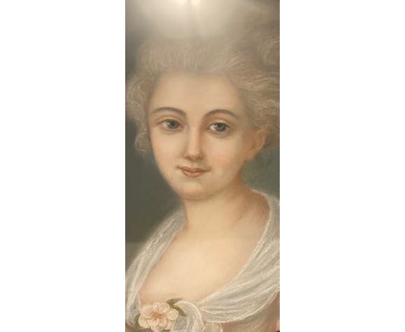 Tableau ancien portrait d'une jeune fille