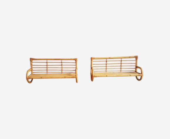 Rattan bookshelves duo