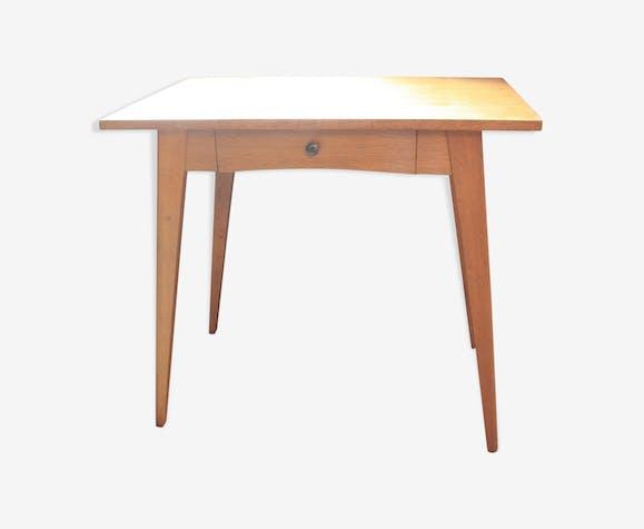 Table bois massif pieds compas