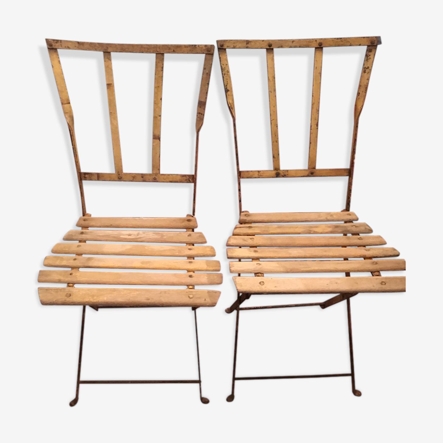 Paire chaises jardin années 1920