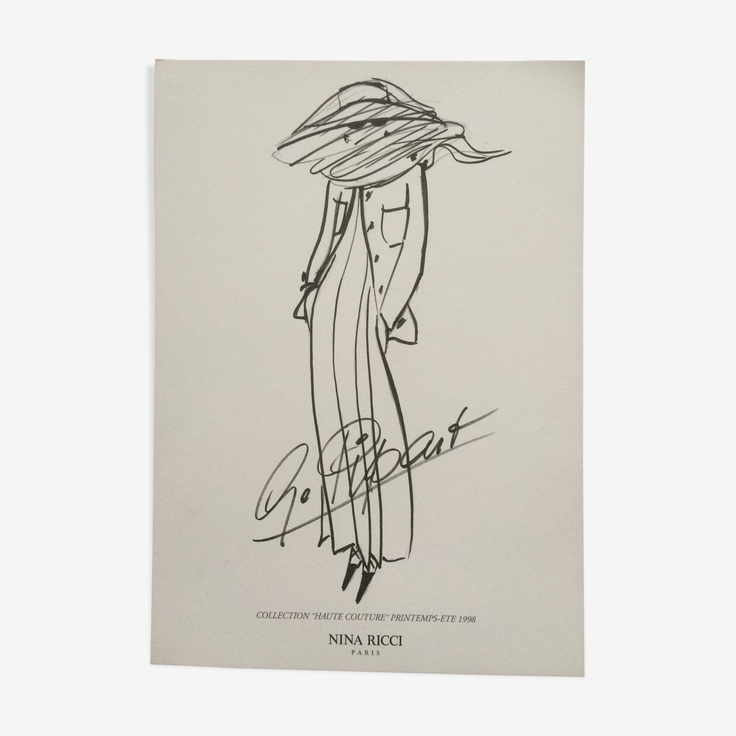 Illustration de mode de presse NIna Ricci années 90