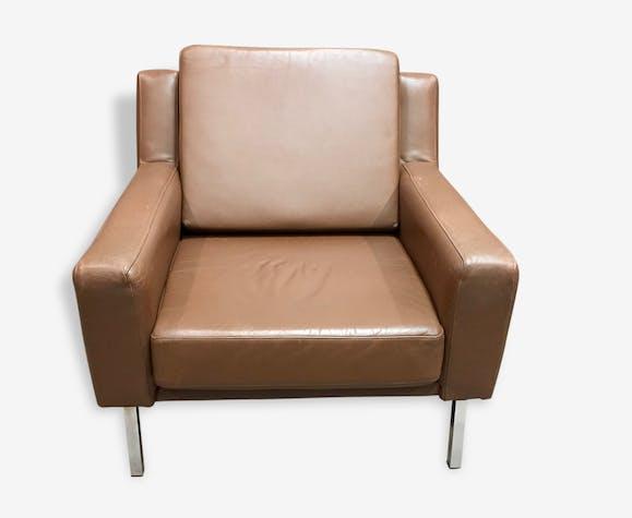 Fauteuil Cuir Marron Design Classique Scandinave Cuir Marron - Fauteuil cuir marron design