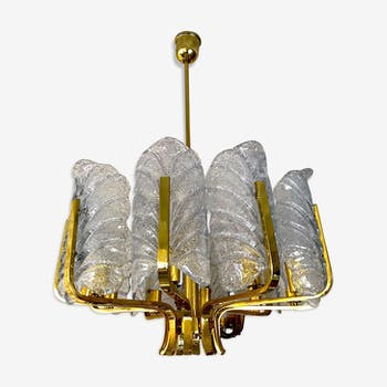 Chandelier Carl Fagerlund by Orrefors with 10 Murano leaves 1960