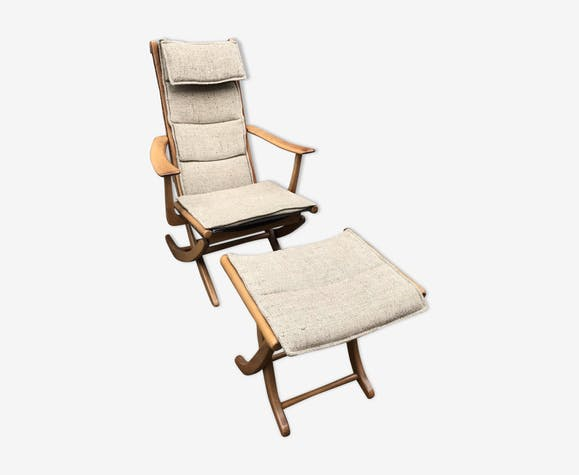 Armchair with teak ottoman from 1950