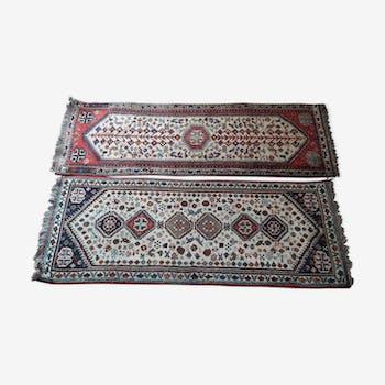 Lot de 2 tapis artisanaux Shiraz d' Iran motif géométriques