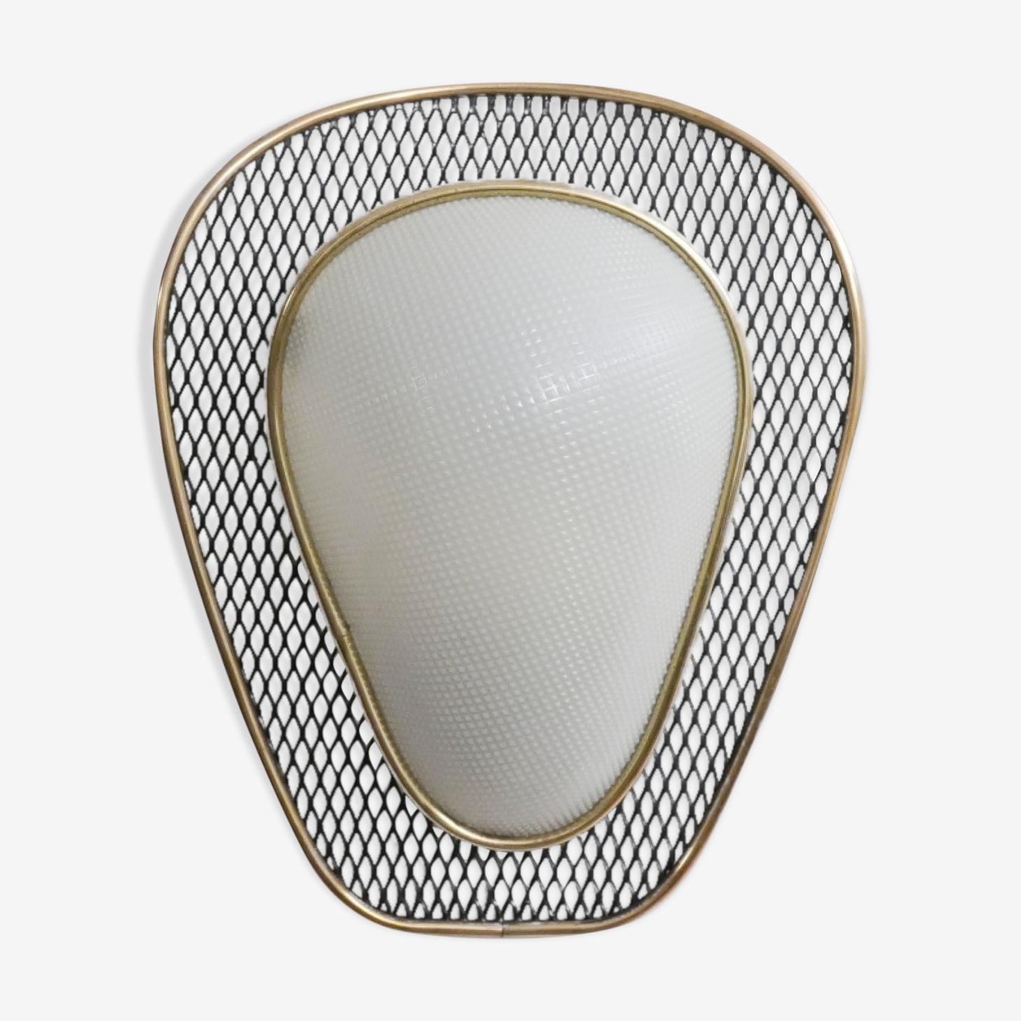 Wall lamp white & black perforated metal 1950