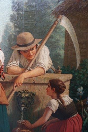 Tableau ancien «Paysans au puits» signé Eugène Hallion