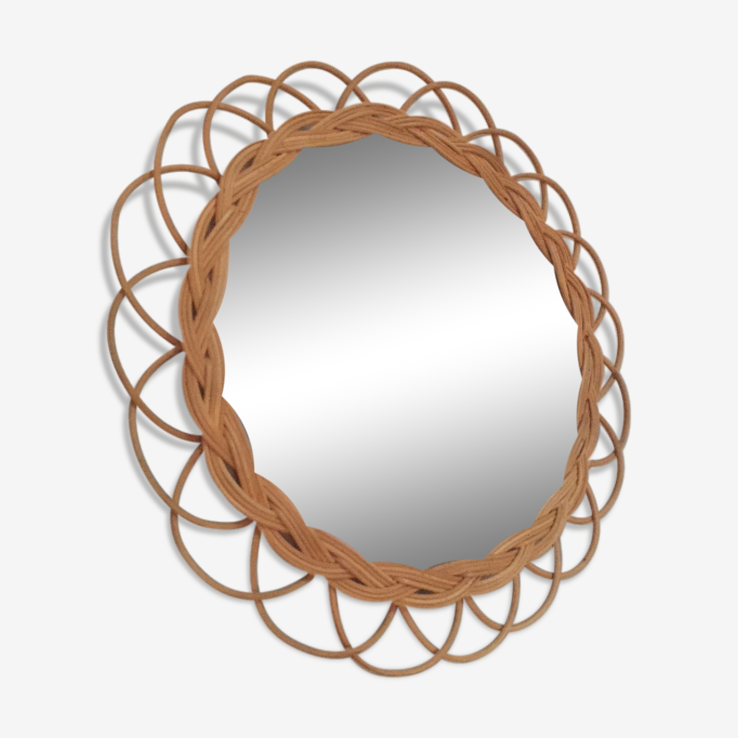 Mirror rattan 35x35cm