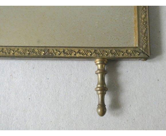 Brass barber's triptych mirror, 1900 era - 76x33cm