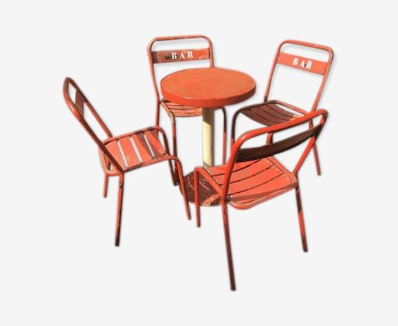 Ensemble bistro 4 chaises et une table 1950
