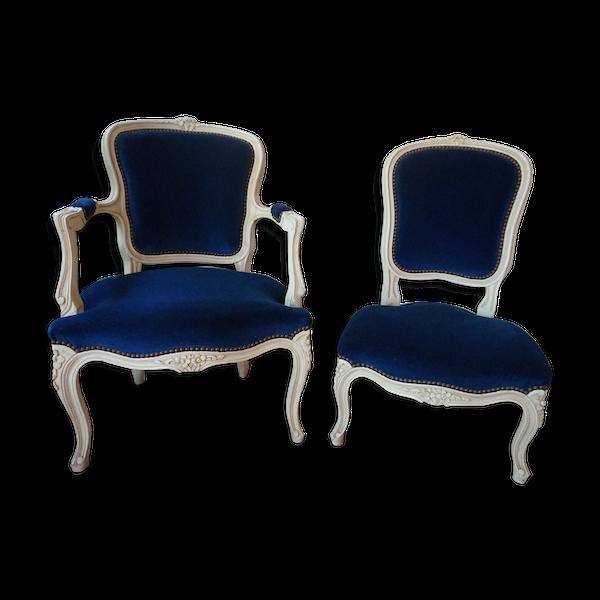 Fauteuil et chaise style Louis XV