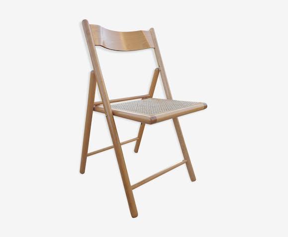 Chaise pliante cannée 1970