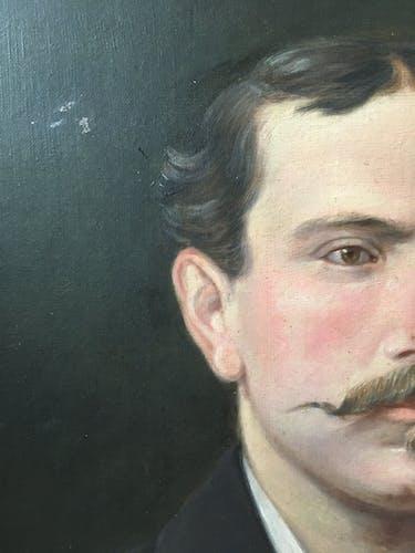 Portrait huile fin XIX ieme