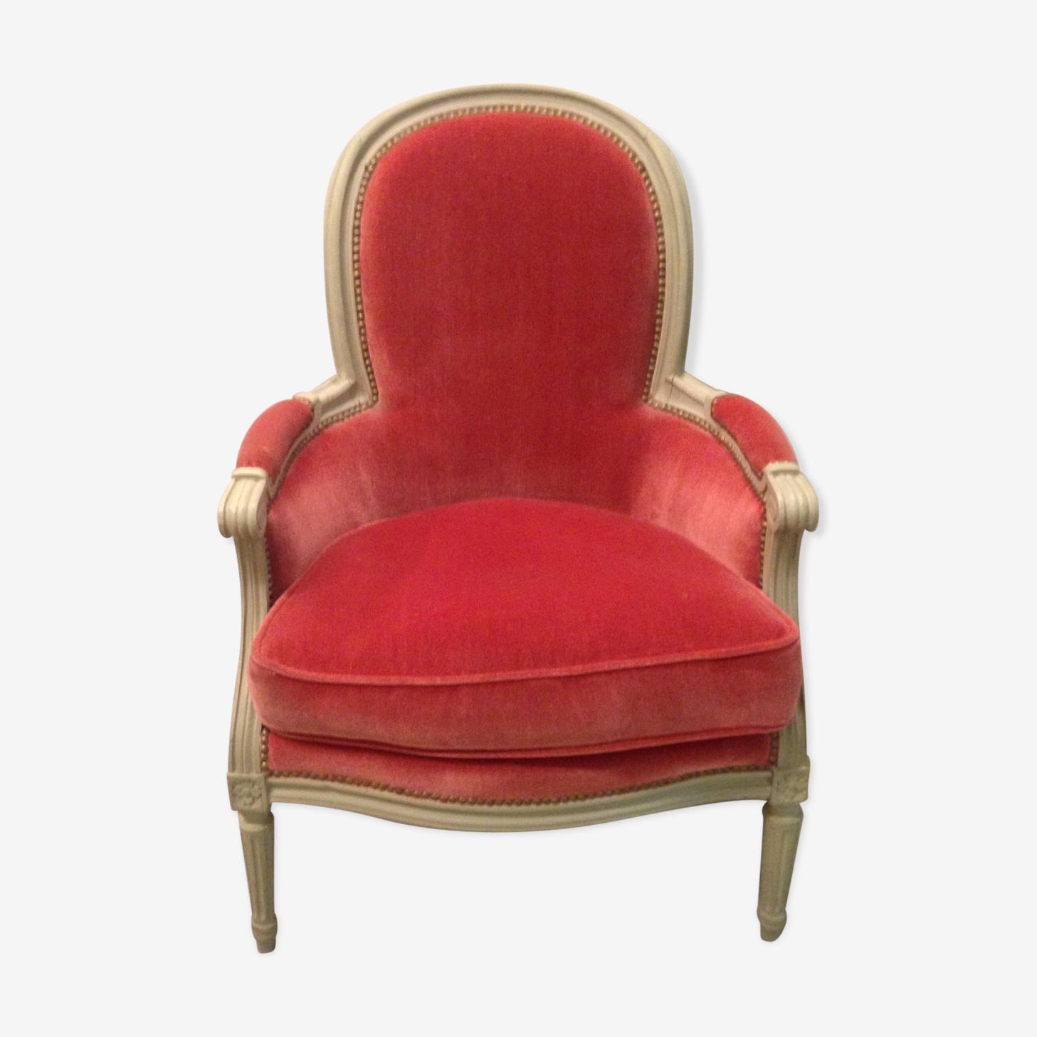 Armchair seat bergere louis XVI pink velvet tbe