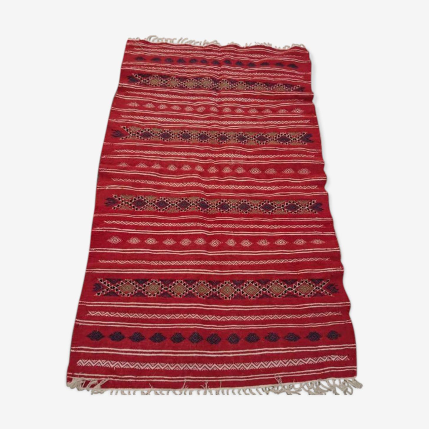 Tapis kilim rouge berbère 200x118cm
