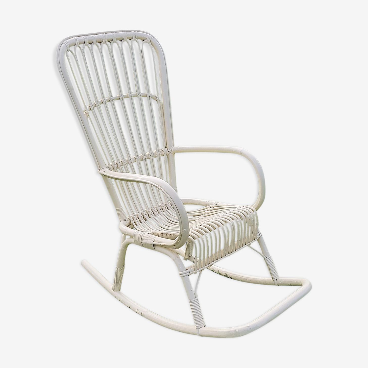 Vintage white rattan rocking chair