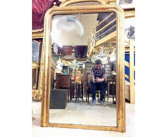Miroir d'époque Louis Philippe en bois doré 100x148cm