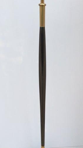 Lampadaire en bois et laiton années 60