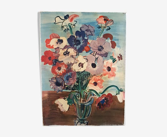 Painting on canvas bouquet 27x20cm
