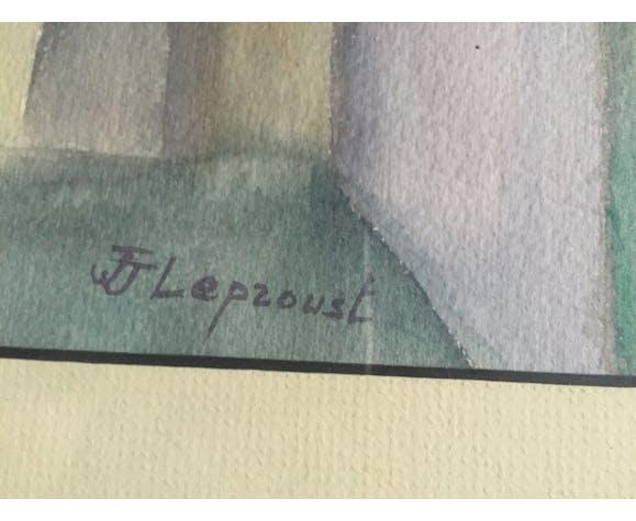 """Aquarelle de JJ Leproust """"Venise Le canal"""""""