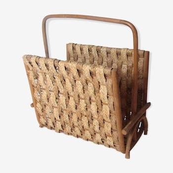 Porte revues en rotin fibres naturelles tressées vintage