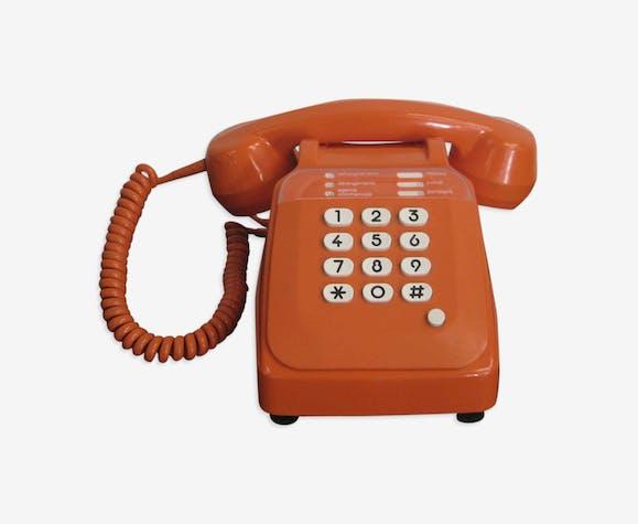 Téléphone orange à touches Socotel vintage