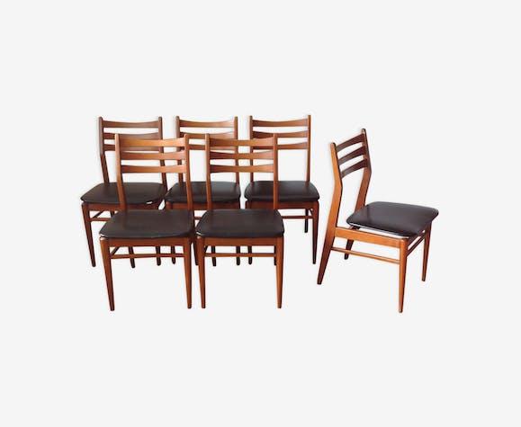 6 chaises scandinaves assise skai noir