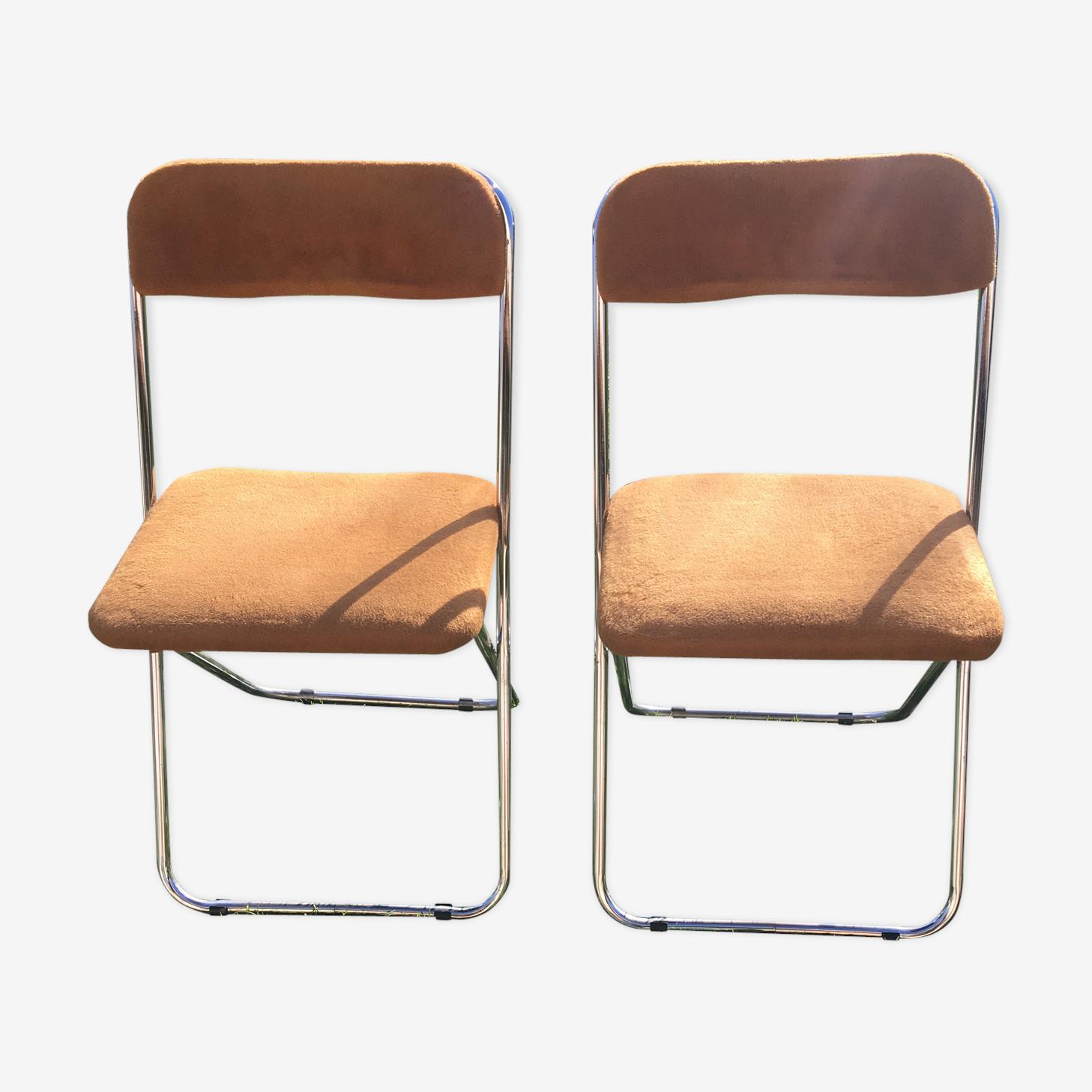 Paire de chaise pliable couleur moka