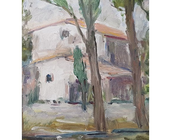 """Peinture de Nagao Usui : """"Un mas en Provence"""""""