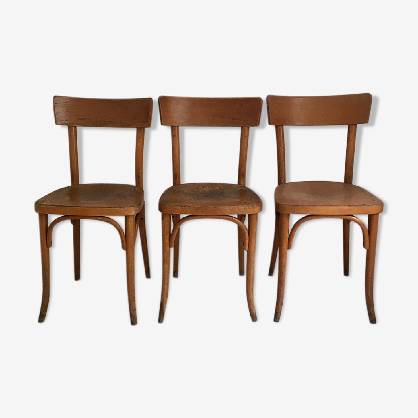 Ensemble de 3 chaises bistrot Thonet vintage 60