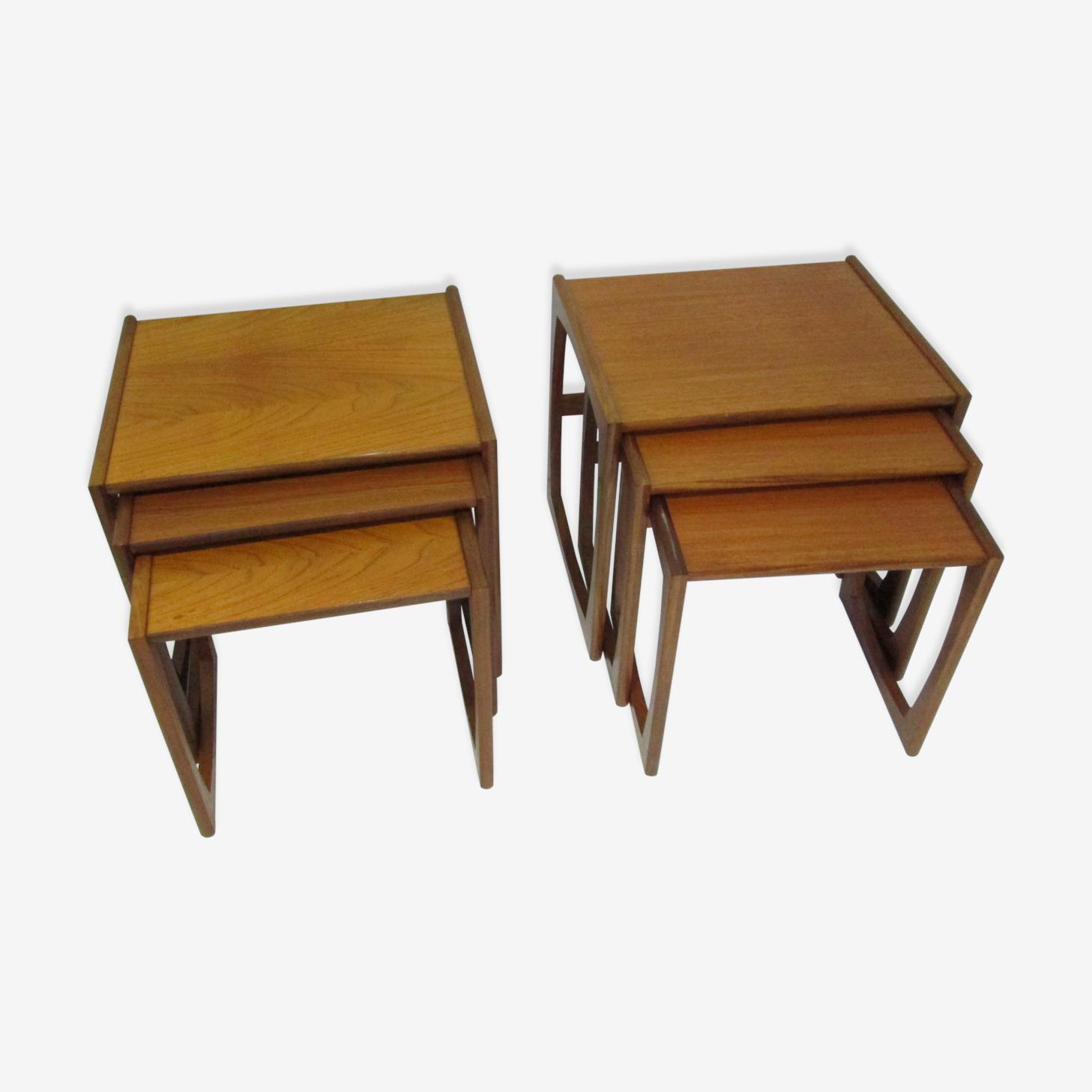 Paire de tables gigognes en teck vintage