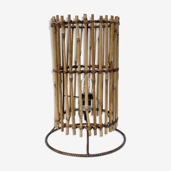 Wicker and bamboo lamp 60s