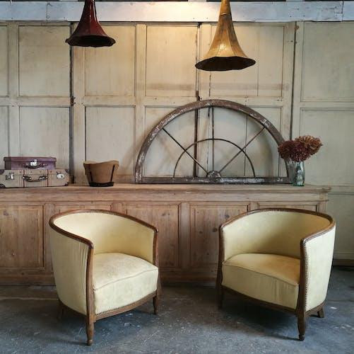 Pair of art deco basket armchairs