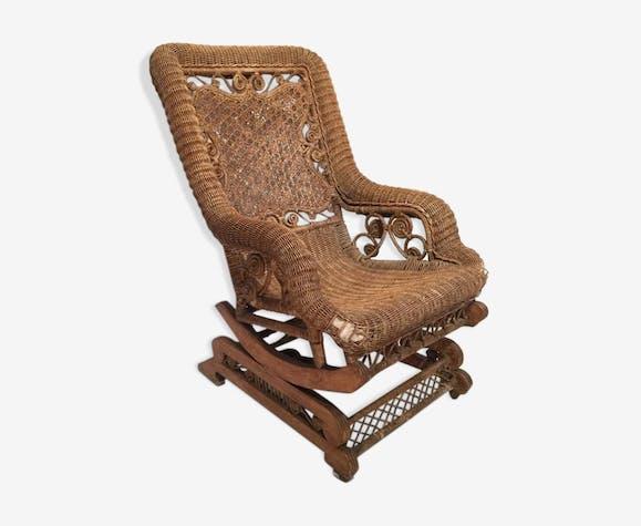 Rocking Chair en rotin, fin XIX ème siècle