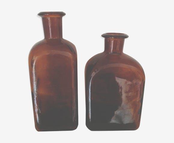 Duo of amber bottles