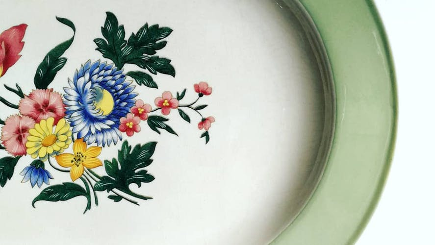 Dish oval, Villeroy and Boch, flowery mint / early 1950s China
