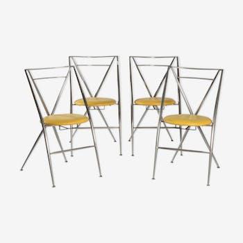 Série de 4 chaises pliantes cinderella, yamakado,  circa 1980