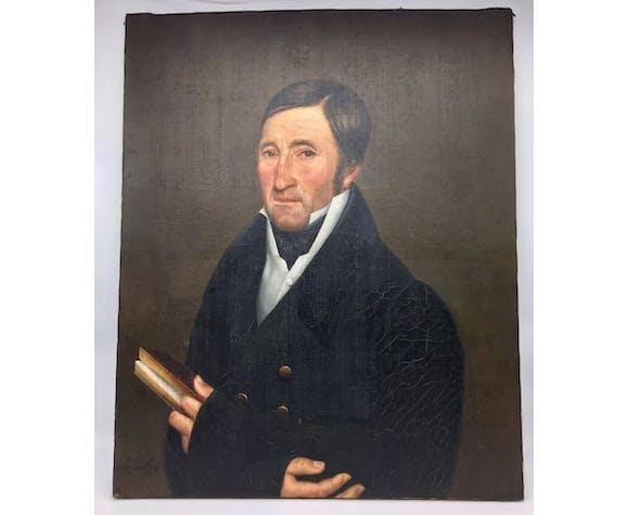 Tableaux signé,  portrait d'un gentleman au livre et à la boucle d'oreille:  XIX siècle