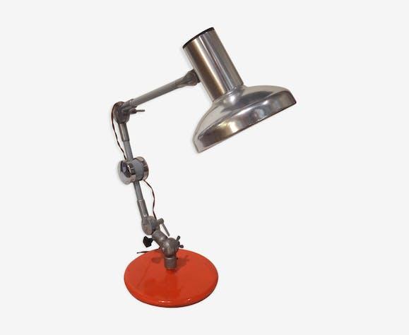 Lampe articulée type indus 2 bras socle orange