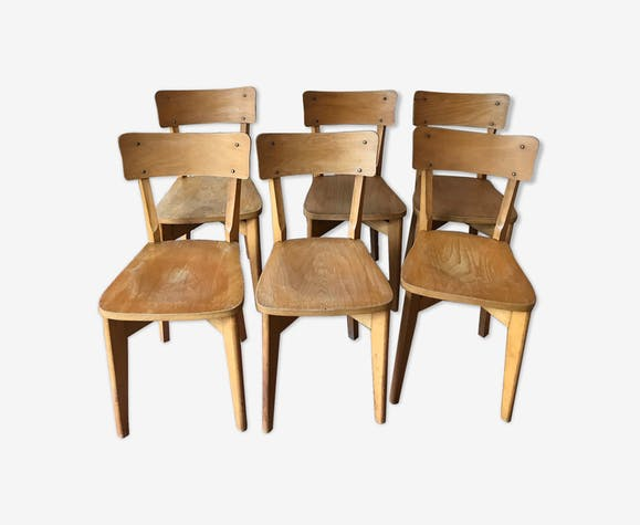 LOT OF 6 CHAIRS WOOD YEAR 50