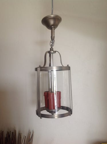 Lantern pendant in glass and metal art deco style