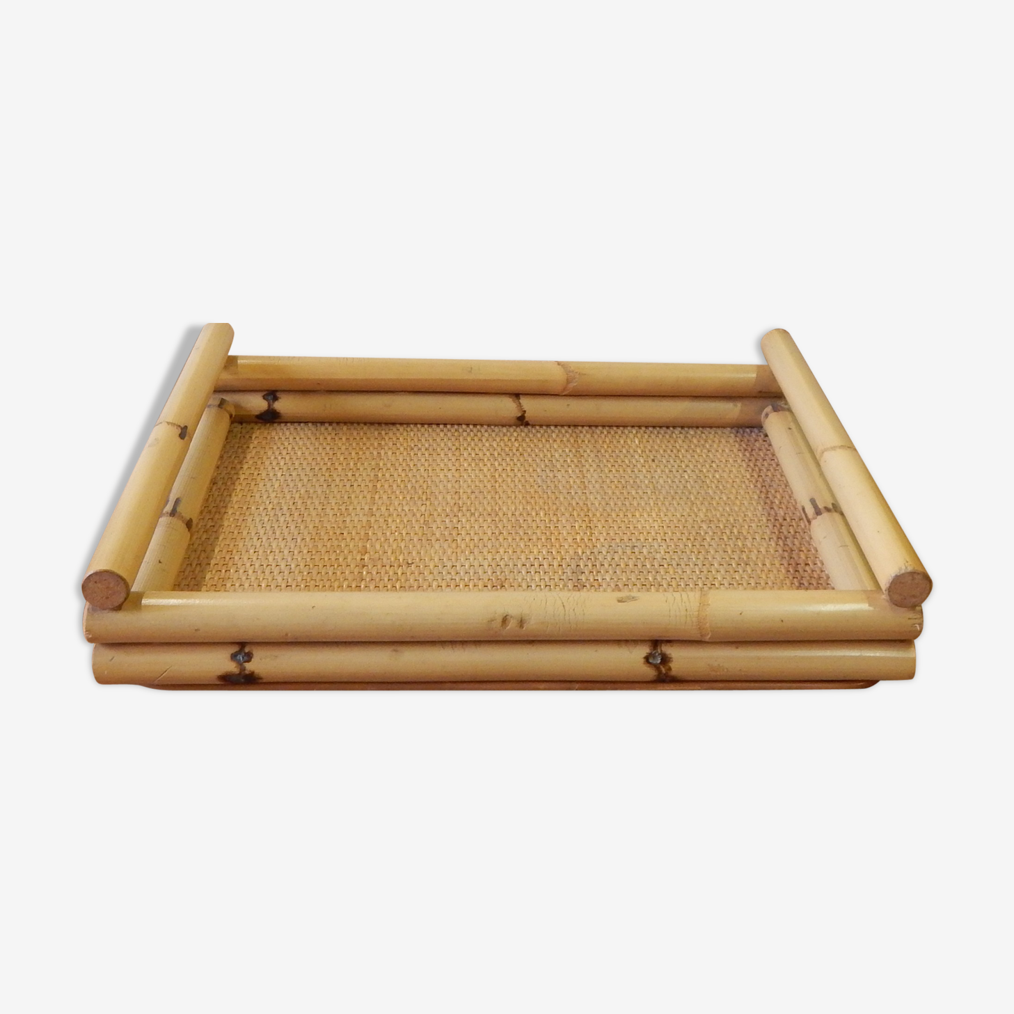 Tray in rattan and bamboo 70s