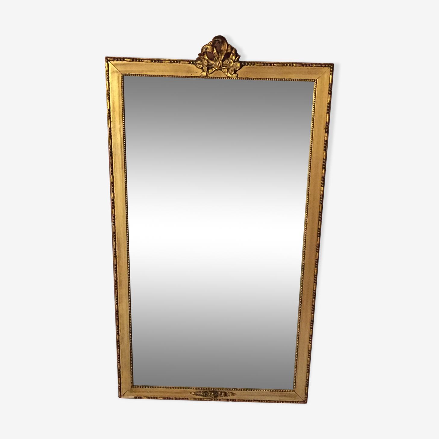 Miroir rectangulaire en bois doré  67 x 37 cm
